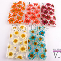 Pressed Flower case, Daisy, sunflower, iPhone 5 case, iPhone 4 case, iPhone 4s case, iPhone 5s case iPhone 5c case Galaxy S4 S5 Note 3, 096