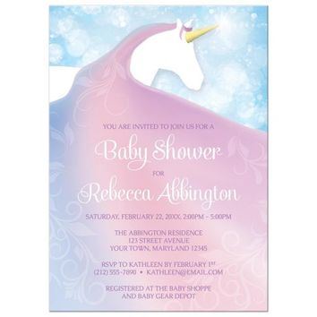 Baby Shower Invitations - Magical Unicorn in Pink Blue and Purple