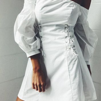 White Off Shoulder Lace Up Side Balloon Sleeve Mini Dress