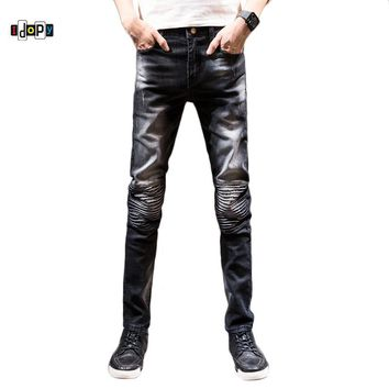 Idopy Men`s Ripped Biker Jeans Vintage Acid Washed Slim Fit Super Skinny Stretchy Denim Pants Pencil Jeans For Youth