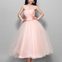 A-line Princess Strapless Tea-length Tulle Evening/Prom Dress