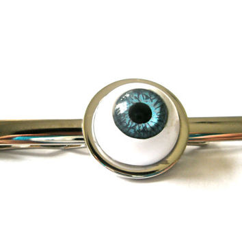 SteamPunk Blue Eye cabochon Tie Pin Tie slide Tie Clip Tie Bar Gothic Blue Eye Unique Accesories altered art