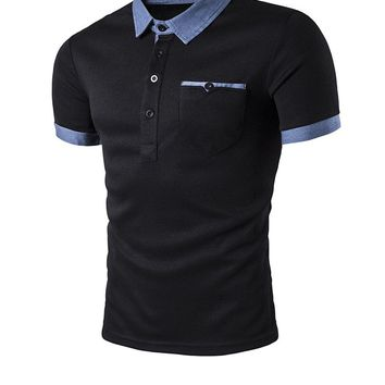 Casual Simple Polo Collar Contrast Trim T-Shirt