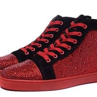 Christian Louboutin Louis Strass Men's Women's Flat Red/Black Suede