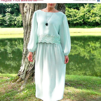 20% OFF SALE 1970's Mint Green Goddess Maxi Dress. Sheer. Lace Overlay. Long Sleeves. Retro. Large L