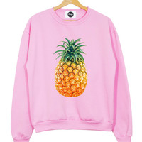 PINEAPPLE SWEATER PINK black white top sweatshirt fruit fresh food fitness mean girls t shirt fashion brand style swag tumblr hipster womens
