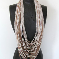 Infinity necklace-beige suede and off white yarn- statement