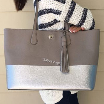 Tory Burch Perry Leather Tote Colorblock French Gray Silver Tassel Large