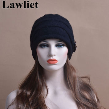 T178 New Style Elegant Women Cap Winter Ladies Hats 100% Wool Fashion Casual Beanies Skullies for Women and Girl