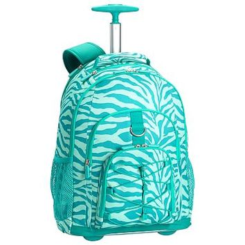 Gear-Up Ceramic Pool Tonal Zebra Rolling Backpack