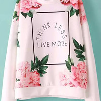Flower Letter Print Long Sleeve Sweatshirt