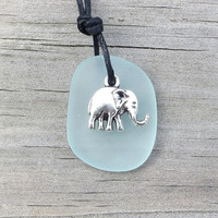 Pale Aqua Sea Glass Elephant Necklace by Wave of Life