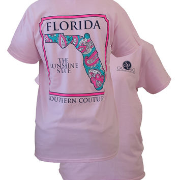Southern Couture Florida Preppy Paisley State Pattern Sunshine State Girlie Bright T Shirt