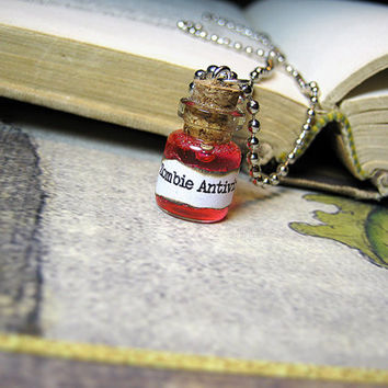 Zombie Antivirus Glass Vial Necklace - Cork Bottle Pendant Charm - Goth Walking Dead