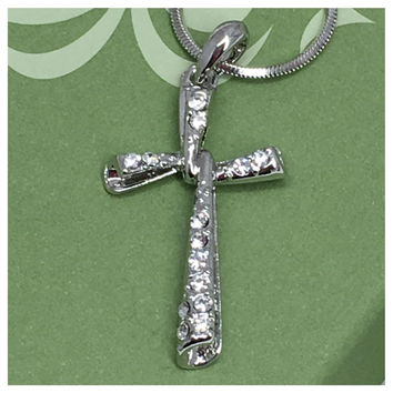Crystal Accented Whitegold Swirl Cross Necklace