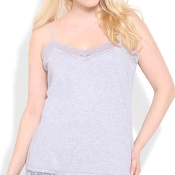 Plus Size Basic Cami with Lace Trim