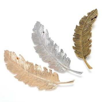 Vintage Simple Gold Silver Leaves Feather Hair Clip Hairpin Barrette Spring Clip Hair Jewelry Women Tiara Accessories Bride