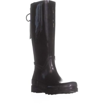 Nine West Oops Lace Up Rain Boots, Black, 9 US