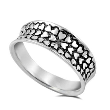 .925 Sterling Silver Heart of Hearts Wide Band Ladies Ring Size 5-10