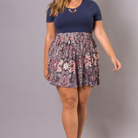 Plus Size Paisley Mini Skirt - Pink