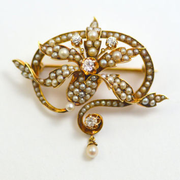 Antique Victorian 14K Seed Pearl and Diamond Pendant Brooch