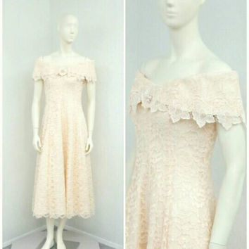 Vintage 80s Pale Pink Lace Dress, Light Pink Maxi Dress, Long Formal Dress, Prom Dress, A Line Dress, Off Shoulder Dress, Princess Dress