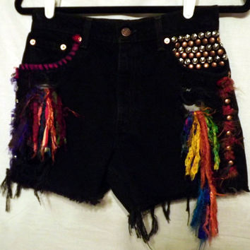 Black Tribal Cut off Shorts Levi 550 Colorful Silks and by twazzy