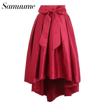 Samuume 2016 Luxury Party Asymmetrical Hem Swallow-Tailed Pleated Elegant Bow Satin High Low Skirts Women Saias Faldas A1410295
