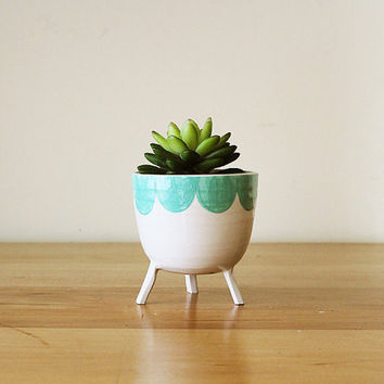 Three-legged Planter with Aqua Green Scalloped Edge - flower pot on stilts - handmade, whimsical ceramics / pottery from Montreal, Canada