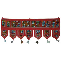 Red Gujrati Handmade Thread Embroidery Window Valance Topper on RoyalFurnish.com