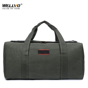 Canvas Men Travel Bag Carry on Luggage Duffel Bags Casual Large Tote Patchwork Weekend Crossbody Bag Overnight Coffee XA144WC