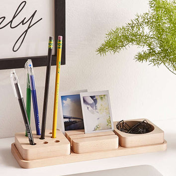 3-Piece Wooden Tray Desk Organizer | Urban Outfitters