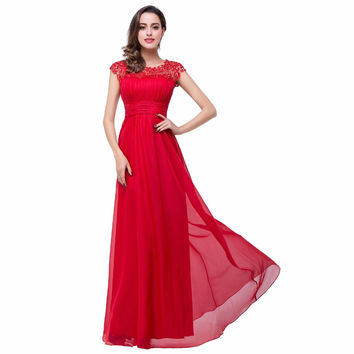 Red Ruched Chiffon Lace Bridesmaid Dresses Long 2017 Sexy Sheer Open Back Formal Wedding Guest Prom Gowns Dress Vestido de Festa
