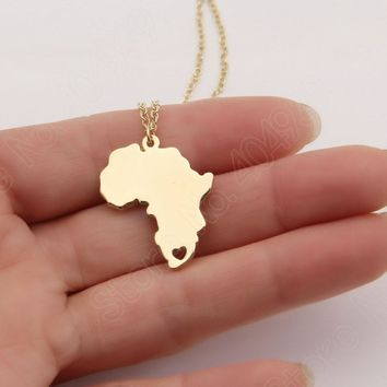 Africa Necklace Wanderlust Stocking Stuffer Elder Missionary Map Necklaces & Pendants Gold Choker Necklace Women Lead Free