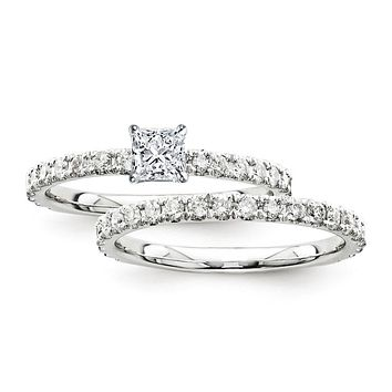 Certified 1.20 Ct. Princess Diamond Bridal Engagement Ring Set with Side Stones in 14K White Gold