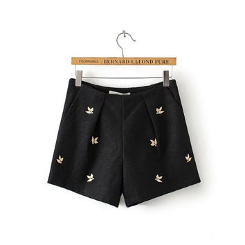 Autumn Korean Embroidery Stylish Slim Boot Cut Shorts [4917836868]