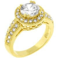 Pave Halo Vintage Crown Ring, size : 09