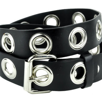 "1"" Silver Eyelet Grommet Black Leather Belt 1-3/4"" Wide - DSBT149"