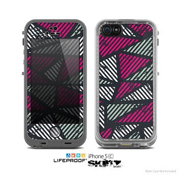 The Abstract Striped Vibrant Trangles Skin for the Apple iPhone 5c LifeProof Case