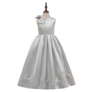 Silver Flower Girl Dresses Simple Satin Little Girl Dress Formal Party Gowns Princess Birthday party Dresses For Girls