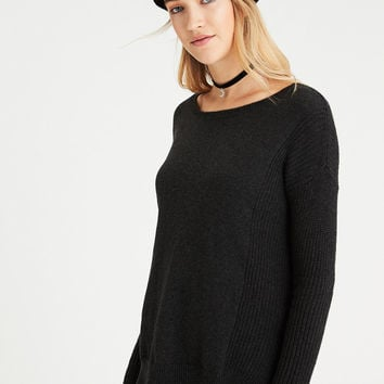 AE Mixed Stitch Sweater, Charcoal