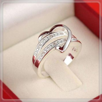 New Exquisite Rhinestone Heart Lover's Ring Couple Rings Rings for Women Wedding Rings Valentine's Gift Free