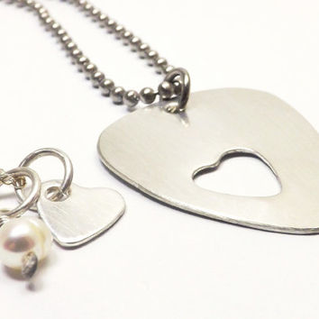 Sterling Silver Guitar Pick and Heart Couples Necklace Set, Deployment Jewelry, Couples Jewelry, Personalized Jewelry by Miss Ashley Jewelry