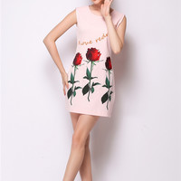 Rose Letter Print Sleeveless Mini Bodycon Dress