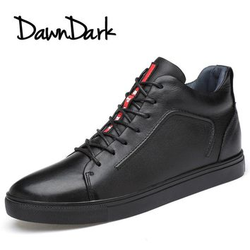 Men Casual Shoes Leather Spring Summer Male Fashion Walking Flat Loafers Lace-Up Black Men's Leather Shoes Big Size