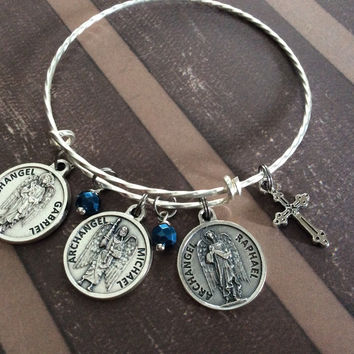 3 Archangel Charms with Prayer on Back Silver Sapphire Blue Crystal and Benedictine Cross Expandable Inspirational Jewelry Adjustable Bracelet