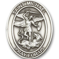 Antique Silver Finish St. Michael the Archangel Visor Clip