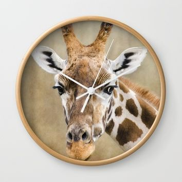 Giraffe  Wall Clock by Linsey Williams Wall Art, Clothing, And