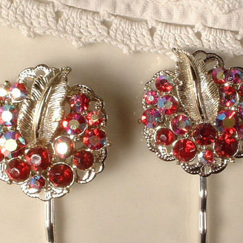 Vintage Ruby Red Rhinestone Bridal Hair Pins - Silver Plated Heirloom Hair Clips Set of 2, One of a Kind Exquisite