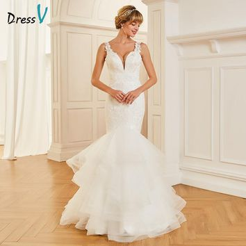 Dressv V Neck Mermaid Long Wedding Dress Sleeveless Tulle Appliques Lace Backless Dream Church Garden Princess Wedding Dresses
